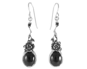 Dangle Earrings, Sterling Silver Earrings, Rose Earrings, Mini Rose Dangle Earrings with Onyx Stones,  Black Onyx Earrings,  Handmade