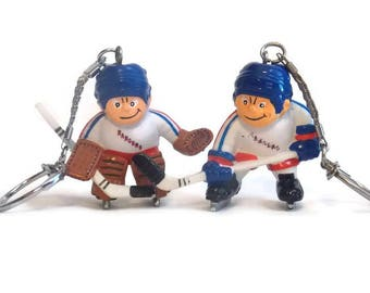 2 Lil Sports Brats Rangers Hockey Key chain, Lil Sports Brats Key chain, Rangers Key chain, Rangers Memorabilia, Hockey Memorabilia