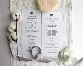 Wedding Programs | ceremony program  |  Double sided programs - Style 01 - ROSE COLLECTION