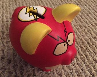 Flash Hand Painted Superhero Ceramic Piggy Bank Medium