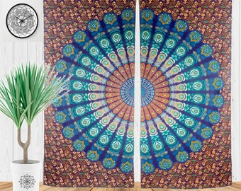 Bohemian Tapestry Curtains, Boho Chic Curtains, Gypsy Window Treatment, Hippie Room Decor