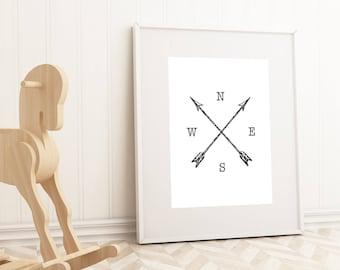 Arrows downloadable print, printable wall art,  nursery decor, black and white print, rustic home decor, black and white