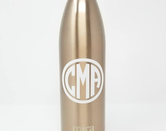Personalized 25oz MIRA, Double Walled, Vacuum Insulated Stainless Steel Bottle, Name, Monogram, Custom, Rose Gold, Teal, Water,  Tumbler
