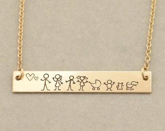Custom Gold Bar Name Necklace, Stick Figure Family, Engraved Bar Necklace, Engraved, Monogram Necklace, Stick Figure Family, Valentines Day