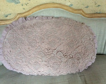 Cushion linen oval shaped with frilly edge and lace yoke