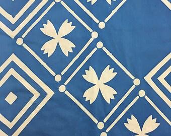 Alison Glass Handcrafted 2, Tile in Cornflower, AB-8134-B, Blue Fabric, Batik, Floral Fabric, White Batik Fabric