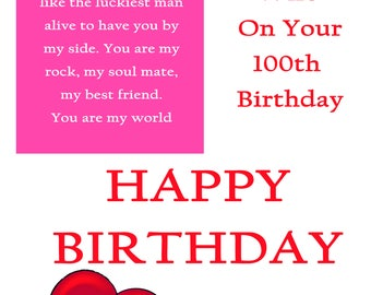Wife 100 Birthday Card with removable laminate