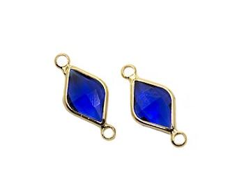 21x9mm Cz Blue Diamond Pendant | Gold Plated Diamond Necklace, Cubic Zirconia Diamond, Mini Bracelet Charms, Glass Pendant, Stone Pendant