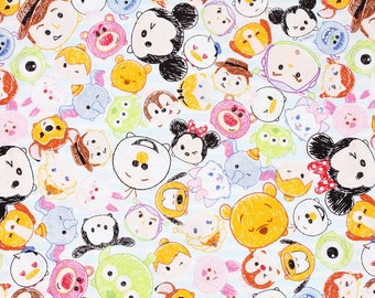 "Tsum Tsum Character Fabric made in Japan, Baby Blue, FQ 45cm by 53cm or 18"" by 21"""