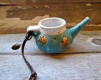 Handmade Ceramic Neti Pot pottery natural goblin pottery turquoise