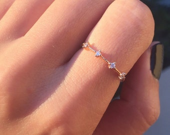 Rose Gold Four Stone Band - dainty rose gold ring / minimal ring / thin band ring / simple band / stacking ring / gifts for her / birthday