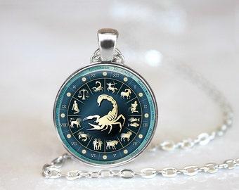 Zodiac Signs Scorpio Glass Pendant/Necklace/Keychain