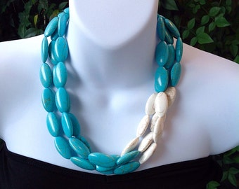 Triple Strand Turquoise Necklace. Chunky Turquoise Necklace. Western Necklace. Oval Turquoise Necklace