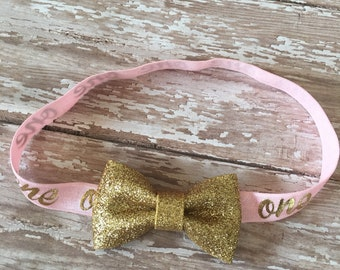 Pink Gold Glitter First Birthday Hair Bow Headband Baby Girl