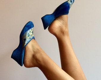 70s Royal Blue Vintage Velveteen Slippers size 38