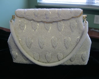 White Beaded '50's Dress Purse Perfect for a Bride