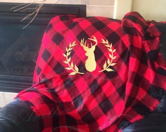Ready To Ship, Deer Blanket, Holiday Throw Blanket, Antlers, Buffalo Plaid
