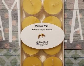 Beeswax tea light candles 100% pure organic yellow beeswax tea lights. 4-6 hour burn tealight. 12 tealights per box.
