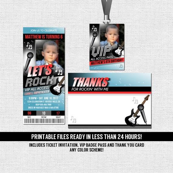 Concert Ticket Invitations Rock Star Birthday Party Thank