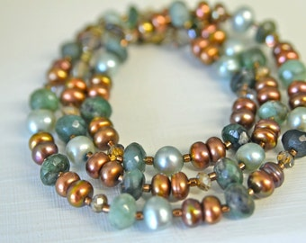 Natural Green Emerald Necklace with Chocolate and Root Beer Freshwater Pearls and Crystals . Handmade in Maine . MAY