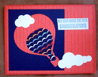 Handmade Congratulations Card with hot air balloons; Handmade note card with balloons; congratulations card