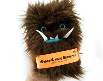 Worry Woolie a fuzzy childrens notebook, brown and blue monster journal