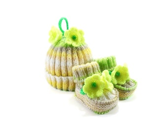 Knitted Baby Hat and Booties - Green, White and Yellow, 0 - 3 month