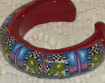 Unique Polymer Clay * Cuff Bracelet * Geometric Kaleidoscope Design * Eye-Popping * RED