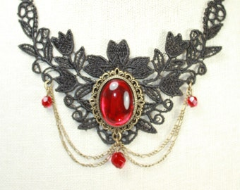 black lace  necklace with red glass pendant
