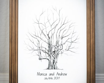 Hand Drawn Fingerprint Tree - includes 2 ink pads!! - Custom Wedding Guestbook - Thumbprint Guest Book Alternative (Medium Size Banyan Tree)