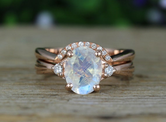 Rainbow Moonstone Ring Set Antique Moonstone Engagement Ring