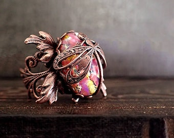 Statement Ring - Dragonfly Filigree Red Pink Czech Glass Opal Cabochon - Whimsical Artistic Nature Inspired Artisan Jewelry Soldered Copper