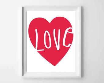 valentines wall art, valentines decor, Love, Monochrome print, Black and white nursery art, Love print, Wall art decor, Nursery Printable