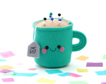 Emerald Green Teacup Pincushion, Felt Pin Storage, hannahdoodle, Happy Room Decor, Sewing Gift