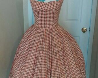 1950s / 50s Fleur Di Lis Print Vintage Swing Party Dress