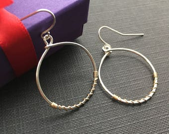 Mixed Metal Earrings, Silver Gold Hoop, Two Tone Jewelry, Wire Earrings, Dangle Earrings, Modern Jewelry