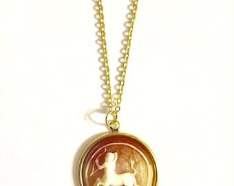 Sagittarius  Astrology Necklace, Astrology Necklace, Vintage Astrology Cameo Necklace