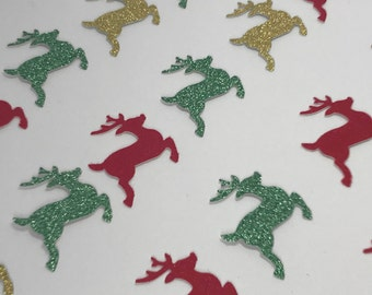 Reindeer Table CONFETTI Red Green Gold Glitter Christmas Decorations