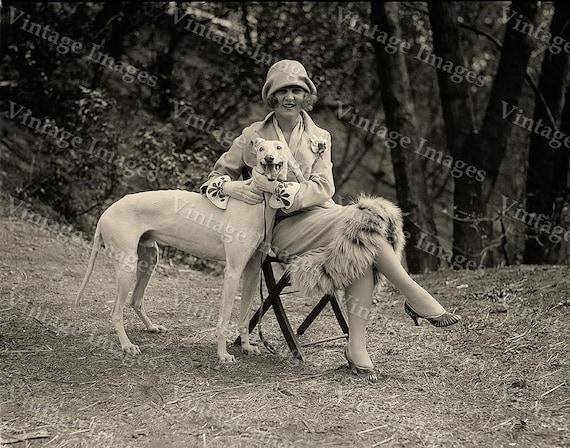 1921 Greyhound Photo Vintage Miss America Black & White Margaret Gorman with greyhound dog Photograph fine art  print wall home decor