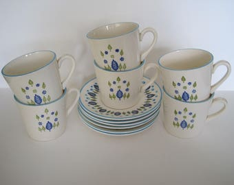 Swiss Alpine Cups and Saucers - set of six - Stetson Marcrest