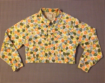 1990's, cropped, denim jacket, in white with colorful, flower and leaf print, by Oilily, Women's size Small