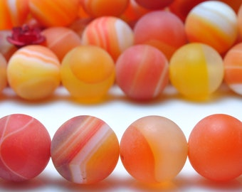 37 pcs of Orange Banded Agate matte round beads in 10mm