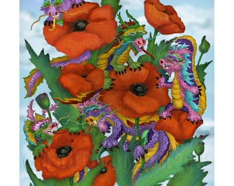 Dragons and Poppies Print