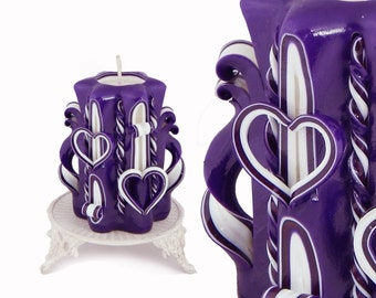 Valentine Day gift, Valentine's day,  Purple candle, candles, carved candle, birthday gift, gift for her, gift for girlfriend,