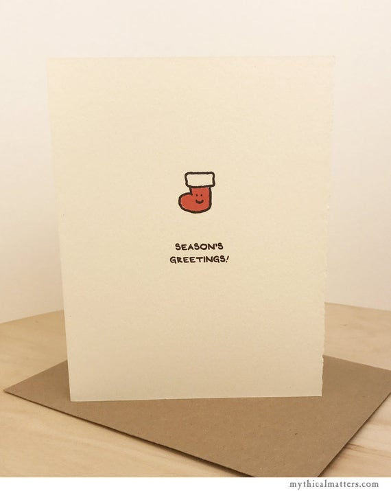 Season's Greetings Card Christmas Card Merry Christmas Cute Sentiment Christmas stocking paper made in Canada Toronto holiday