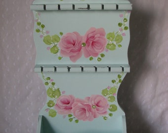 Spoon Rack Jewelry Holder Hand Painted Pink Roses Aqua Cottage chic home decor Wood