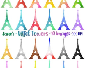 Watercolor Eiffel Tower Clipart - Paris Download - Instant Download - Silhouettes - Commercial Use - Digital Scrapbooking