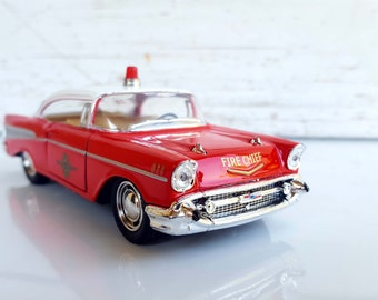 1957 CHEVROLET CHEVY Bel Air Fire Dept , Metal Toy Car Model. Lovely  Collectible