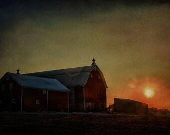 Barn Decor, Barn Art, Country Decor, Rustic Decor, Farmhouse Decor, Home Decor, Large Wall Art, Sunset Barn