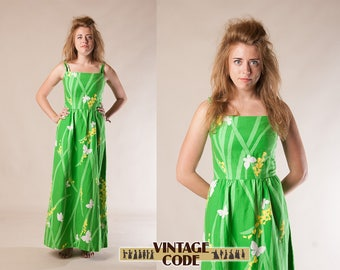 Green Malia of Honolulu Maxi sun dress / Green cotton butterfly print dress / Tropical Hawaiian dress /   size Small